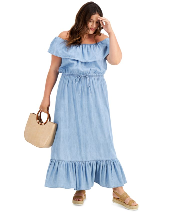 Style & Co Plus Size Chambray Maxi Dress, Created for Macy's & Reviews - Dresses - Plus Sizes - Macy's