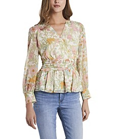 Petite Long Sleeve Ruffled Vernona Garden Wrap Blouse