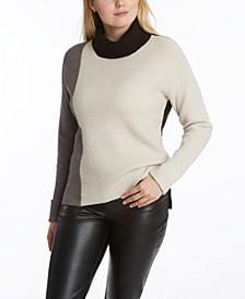 Women's Color-Block Turtleneck Sweater