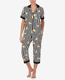 Women's Short Sleeve Notch Cropped Pant Pajama Set