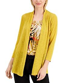 Petite 3/4-Sleeve Knit Cardigan