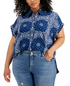 Plus Size Cotton Printed Camp Shirt, Created for Macys