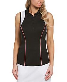 Women's Mesh-Trimmed Sleeveless Golf Polo
