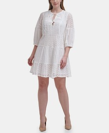 Plus Size Cotton Eyelet Dress
