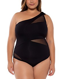 Trendy Plus Size Bond Girl Sheer Inset One-Piece Swimsuit