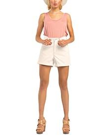 Petite Stretch-Denim Cuffed-Hem Mom Shorts