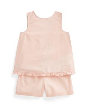 Polo Ralph Lauren Linens LITTLE GIRLS GINGHAM LINEN TOP SHORT SET