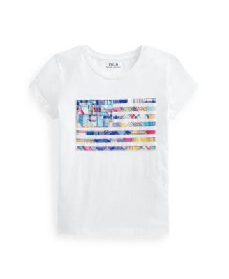 폴로 랄프로렌 Polo Ralph Lauren Little Girls Madras-Flag Jersey T-shirt,White