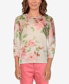 Women's Missy Springtime in Paris Floral Print Sweater