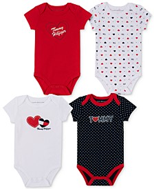 Baby Girls 4-Pack Signature Print and Solid Bodysuits