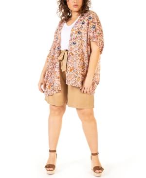 Plus Size Printed Chiffon Kimono
