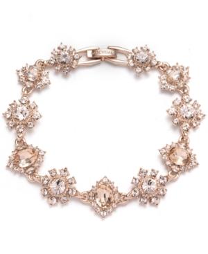Rose Gold-Tone Crystal Cluster Flower Flex Bracelet