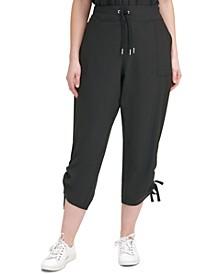 Plus Size Knit-Waistband Cropped Pants