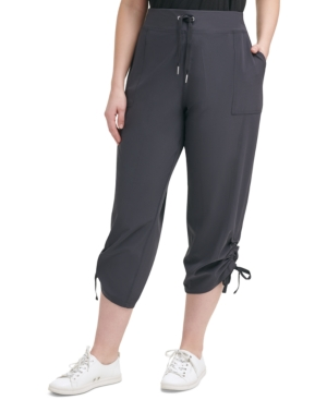 Calvin Klein PERFORMANCE PLUS SIZE KNIT-WAISTBAND CROPPED PANTS