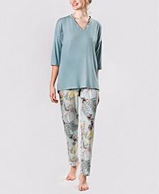 Women's Ultra Soft Caribbean Flowers Pajama Set