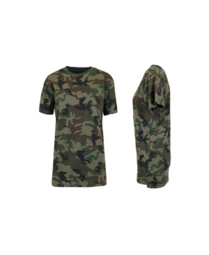 Galaxy By Harvic Tops WOMEN'S LOOSE FIT SHORT SLEEVE CREW NECK CAMO PRINTED TEE