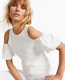 INC Cold-Shoulder Balloon-Sleeve Top, Created for Macy's