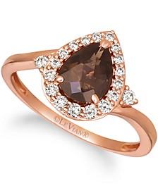 Chocolate Quartz (1 ct. t.w.) & Nude Diamond (1/4 ct. t.w.) Teardrop Halo Ring in 14k Rose Gold