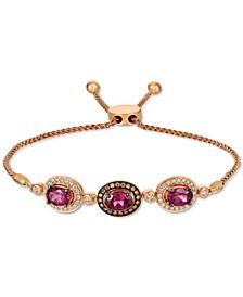 Chocolatier® Raspberry Rhodolite (2-3/8 ct. t.w.) & Diamond (1/2 ct. t.w.) Bolo Bracelet in 14k Rose Gold