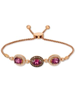 Chocolatier Raspberry Rhodolite (2-3/8 ct. t.w.) & Diamond (1/2 ct. t.w.) Bolo Bracelet in 14k Rose Gold