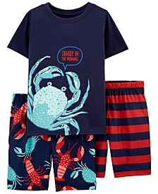 Little Boys Lobster Loose Fit Pajamas, 3 Pieces