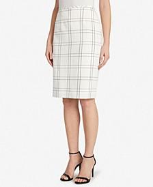 Windowpane Twill Pencil Skirt