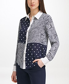 Mixed-Print Blouse
