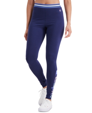 Champion Women's Authentic Double Dry Leggings In Athletic Navy/water Color
