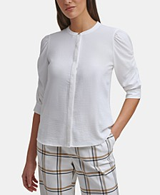 Ruched-Sleeve Button-Down Top, Regular & Petite Sizes