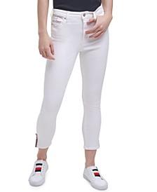 Striped-Trim Split-Seam Skinny Ankle Jeans