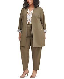 Plus Size Topper Jacket, Floral-Print Top & Tie-Detail Pants