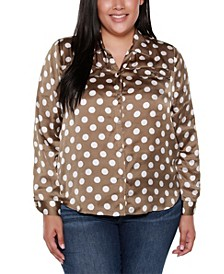 Black Label Plus Size Polka Dot Long Sleeve Collared Button Up Shirt