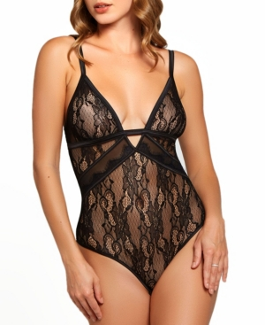 Women's Camellia all Over Lace and Fine Mesh Teddy Matching Hardware