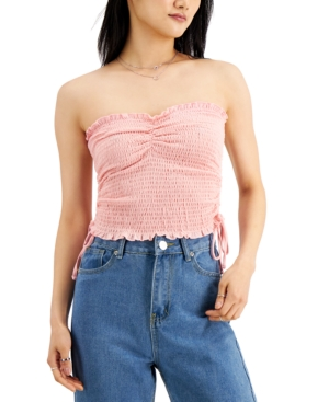 Juniors' Smocked Ruched-Side Tube Top