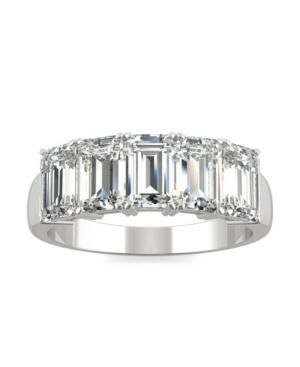 Moissanite Emerald Five Stone Band 2-9/10 ct. t.w. Diamond Equivalent in 14k White Gold