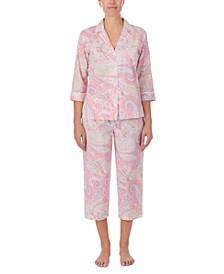 Petite Notched-Collar Top & Capris Pajama Set