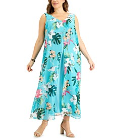 Plus Size Printed Chiffon Dress, Created for Macy's