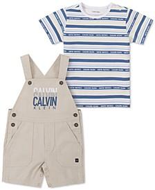 Baby Boys 2-Pc Striped T-Shirt & Shortalls Set
