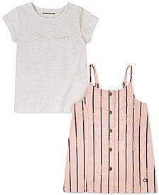 Baby Girls 2-Pc. T-Shirt & Striped Twill Jumper Set