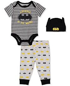 Baby Boy 3-Pc. Batman Bodysuit, Jogger Pants & Hat Set