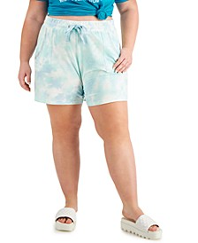 Trendy Plus Size Embellished Tie-Dyed Shorts