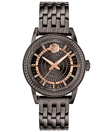 Men's Swiss Code Gunmetal-Tone Stainless Steel Bracelet Watch 41mm