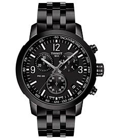 Men's Swiss Chronograph PRC 200 Black-Tone Stainless Steel Bracelet Watch 43mm