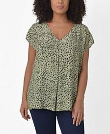 Plus Size Smudge Print Pleat Front Top
