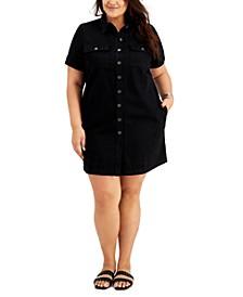 Plus Size Button-Front Cotton Denim Dress, Created for Macy's