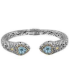 Blue Topaz Bali Filigree Hinge Cuff Bracelet in Sterling Silver and 18K Gold