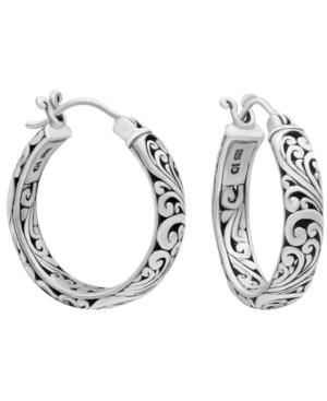 Bali Filigree Hoop Earrings in Sterling Silver