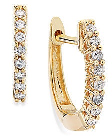 10k Gold Diamond Mini Hoop Earrings (1/8 ct. t.w.)