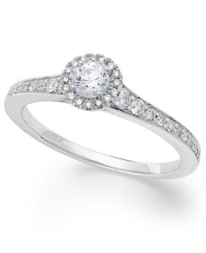 14k White Gold Diamond Halo Engagement Ring (1/2 ct. t.w.)