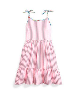 폴로 랄프로렌 Polo Ralph Lauren Little Girls Striped Dress,Pink/white